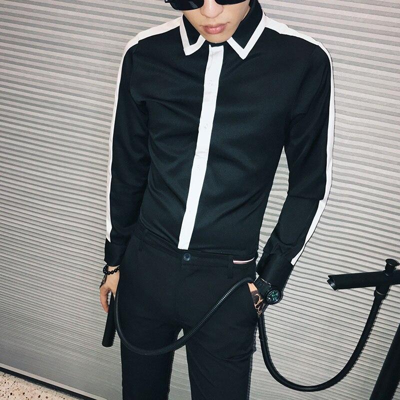 Men's Clothing Shirts Men Shirt Black Brand New 2019 Spring Slim Fit Mens Casual Shirts Solid Streetwear Long Sleeve Shirt Men Design Blouse Homme To Enjoy High Reputation In The International Market