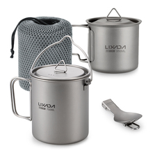 Lixada Outdoor Titanium Lightweight 3 Pieces Set Water Mugs Pot Folding Spork Cookware for Backpacking Camping Hiking