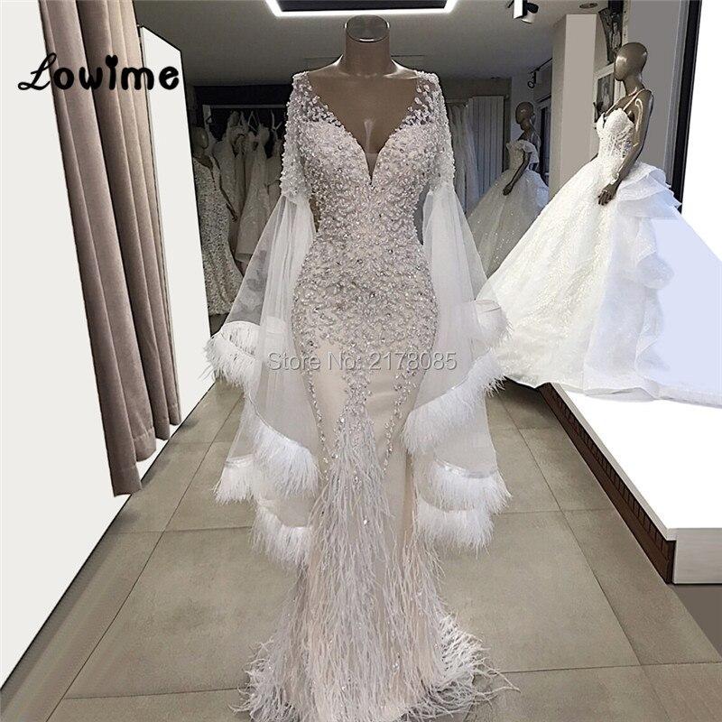 Mermaid Feather White Wedding Dresses 2019 Vestido De