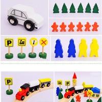 Wooden DIY Mini Rail car Diecasts Toy Vehicles Train track scene Educational Toy Assembling 8 shaped Track Model Tender Children
