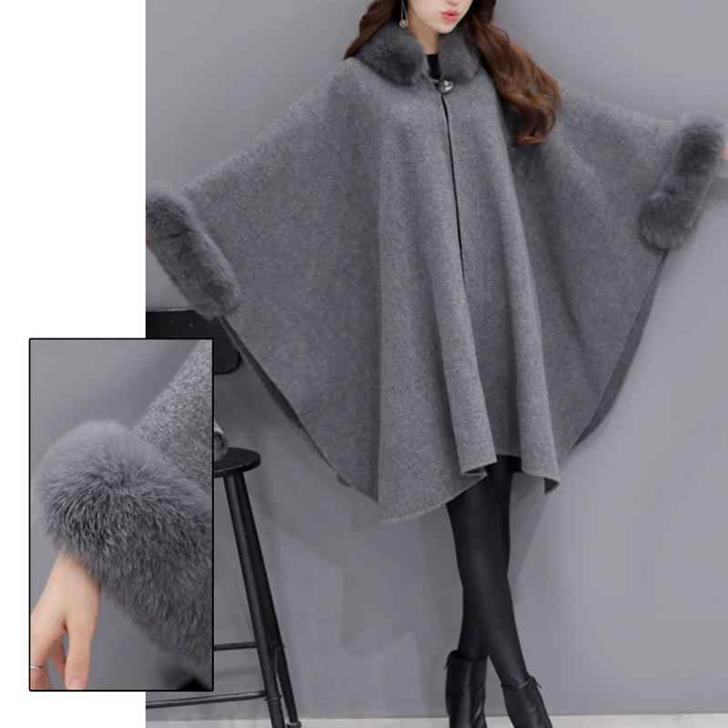 Женское шерстяное пальто Верблюд Пончо Зима трикотажная шаль накидка Feminino свободная теплая верхняя одежда Плащ шаль пальто плюс размер