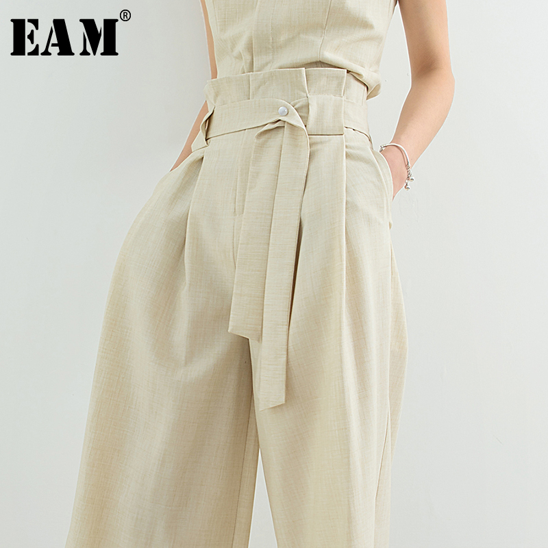 [EAM] 2019 New Spring Summer High Waist Beige Loose Long Waist Bandage   Wide     Leg     Pants   Women Trousers Fashion Tide JT075
