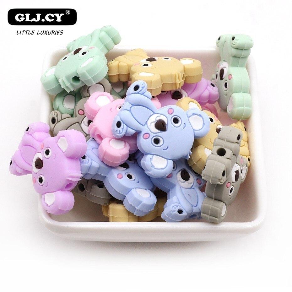 10PCs Cute Cartoon Animal Mini Koala Baby Silicone Teether BPA Free Food Grade Silicon Child DIY Nipple Clip Chain Accessories
