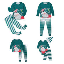 2018 XMAS PJs Family Matching Outfits Dad Mom Kid Baby Christmas Santa  Claus Stripe Nightwear Sleepwear Pajamas Set Plus Size d044ea93c
