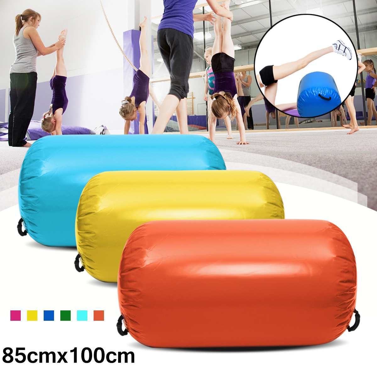 85x100cm Airtrack Inflatable Gymnastics Gym Air Mat Floor Home Gymnastics Exercise Inverted Backflip Round Column Tumbling