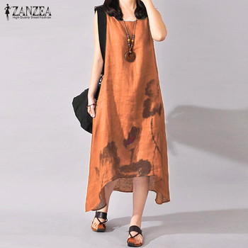 ZANZEA Linen Dress Women Summer Dresses Sleeveless Ink Painting Cotton Vestidos Ladies Mid Calf Vestido Womens Plus Size Dresses 5