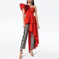 [MENKAY] Asymmetrical Off Shoulder Women's T shirts Strapless Lace Up Ruffle T shirt Tops Female Sexy Fashion 2018 Autumn