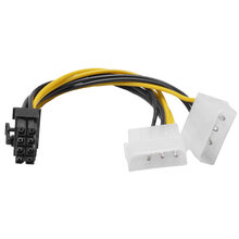 New Hot 6 inch 2 x Molex 4 pin to 8-Pin PCI Express Video Card Pci-e ATX PSU Power Converter Cable - Molex to Pcie 8 pin Adapter(China)