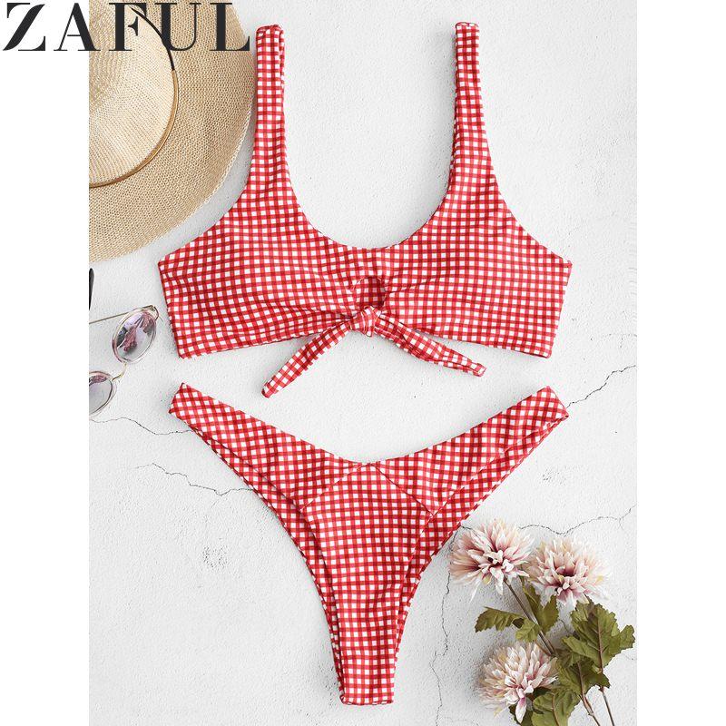ZAFUL Sexy Swimwear Front Knot High Cut Bikini Set Bathing Suit Wire Free Scoop Neck Women Swimsuit Beach Suits For Summer costumi moda 2019
