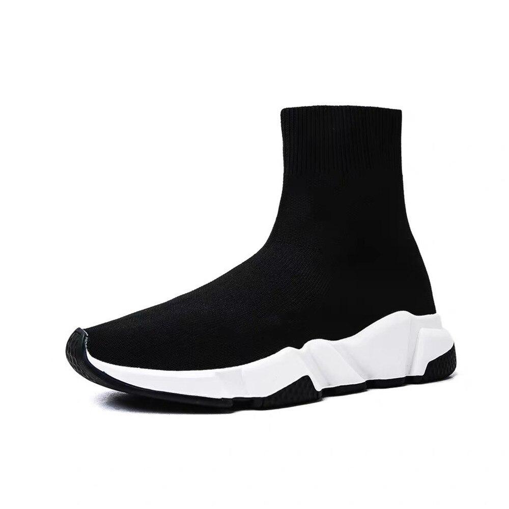 Sans lacet chaussures femmes chaussures femmes tricoté entraîneur plates-formes chaussures mode chaussette chaussons Stretch tissu cuir chaussures de plein air