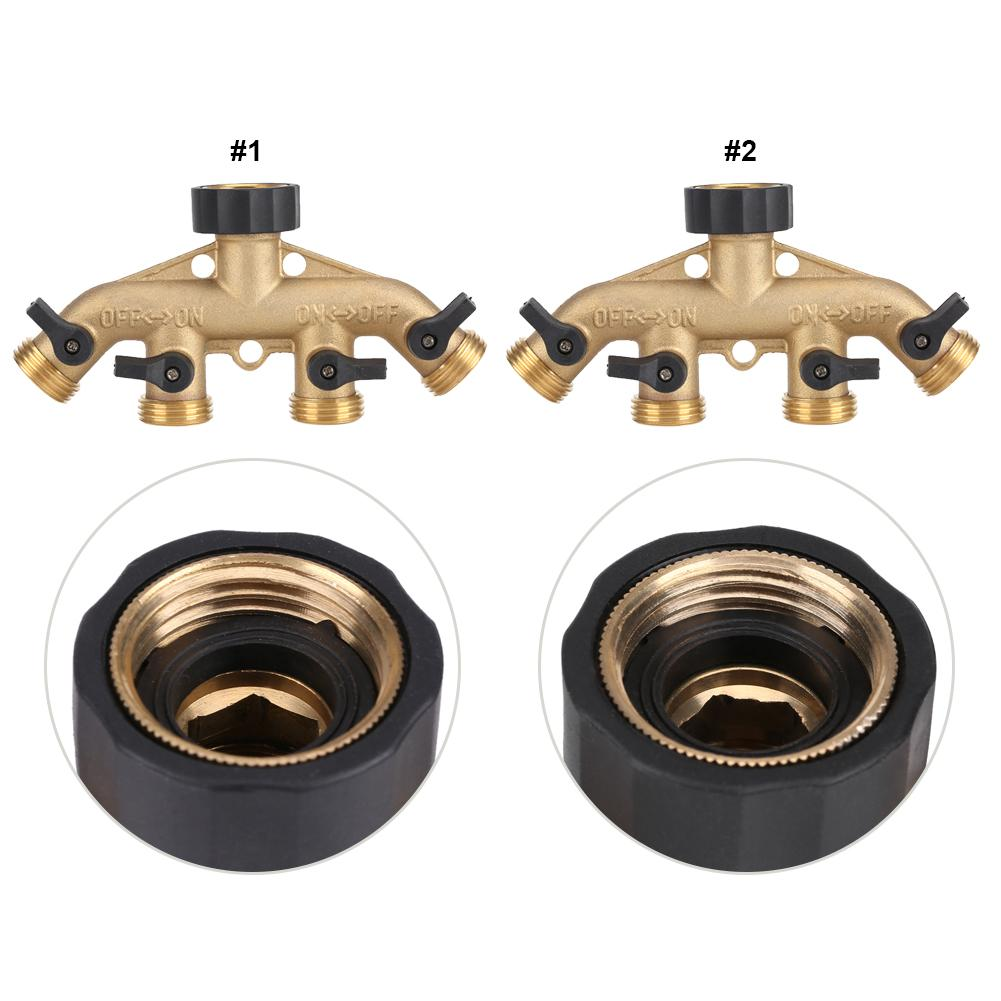 American Thread 3//4 Inch Brass 4 Way Hose Pipe Splitter Nozzle Switcher Tap Connectors for Garden Irrigation Hose Valve Splitter