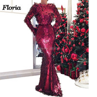 Arabic New Reflective Prom Dresses 2019 Custom Made Aibye Couture Muslim Evening Dress Robe de soiree Shiny Long Party Gowns