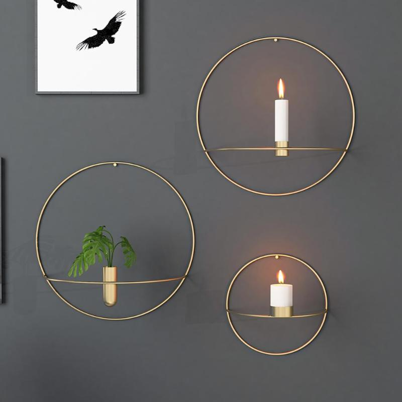 Europe 3D Metal Candlestick Wall Hanging Geometric Round ... on Metal Candle Holders For Wall id=73850