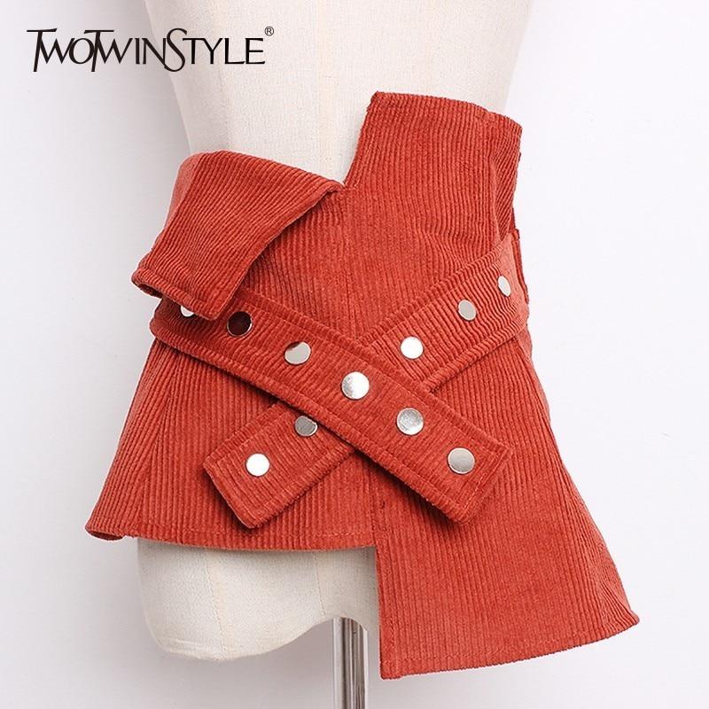 TWOTWINSTYLE Asymmetrical Corduroy Wide Waistband Tuinc Belt For Women's Dresses Fashion Cummerbunds 2020 Autumn Accessories