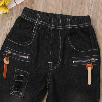 381debbce0989 2019 Brand New Infant Kids Baby Boys Ripped Jeans Pants Hole Patch