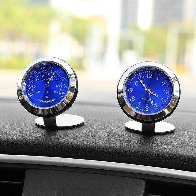 Car Clock Thermometer Auto Ornaments Digital Clocks Decoration Charms Interior Dashboard Watch Decor Clock In Car Accessories