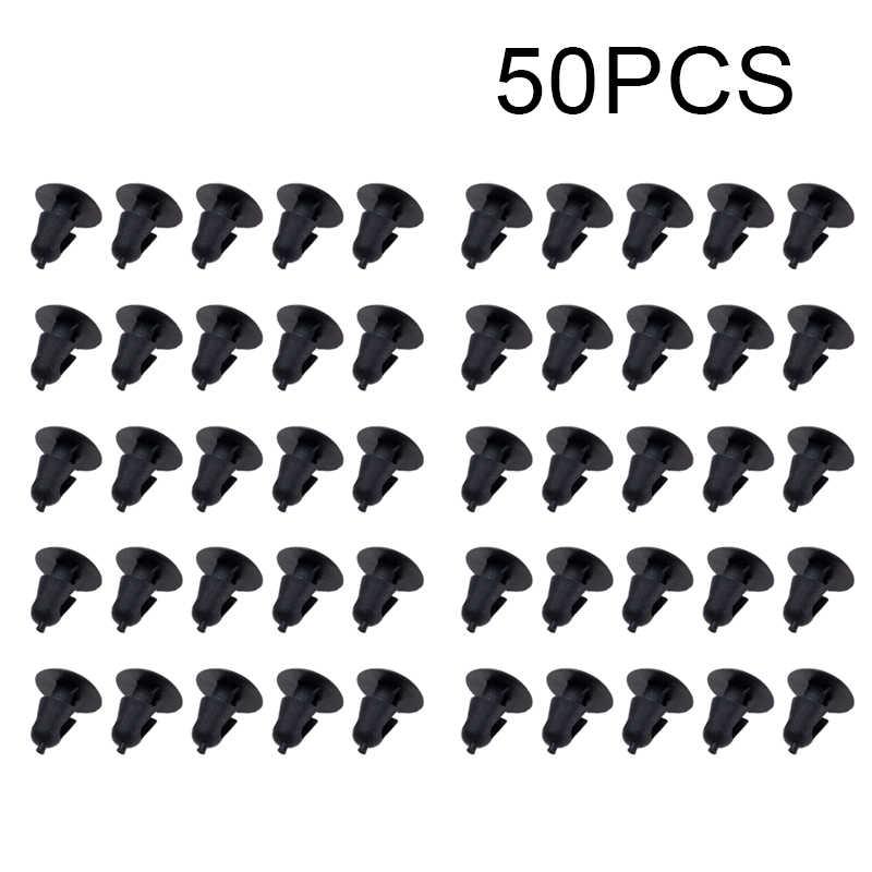 50 個ファスナー 5 ミリメートル径ホールプッシュ車のドアトリムパネルクリップトヨタ高品質黒クリップアクセサリー