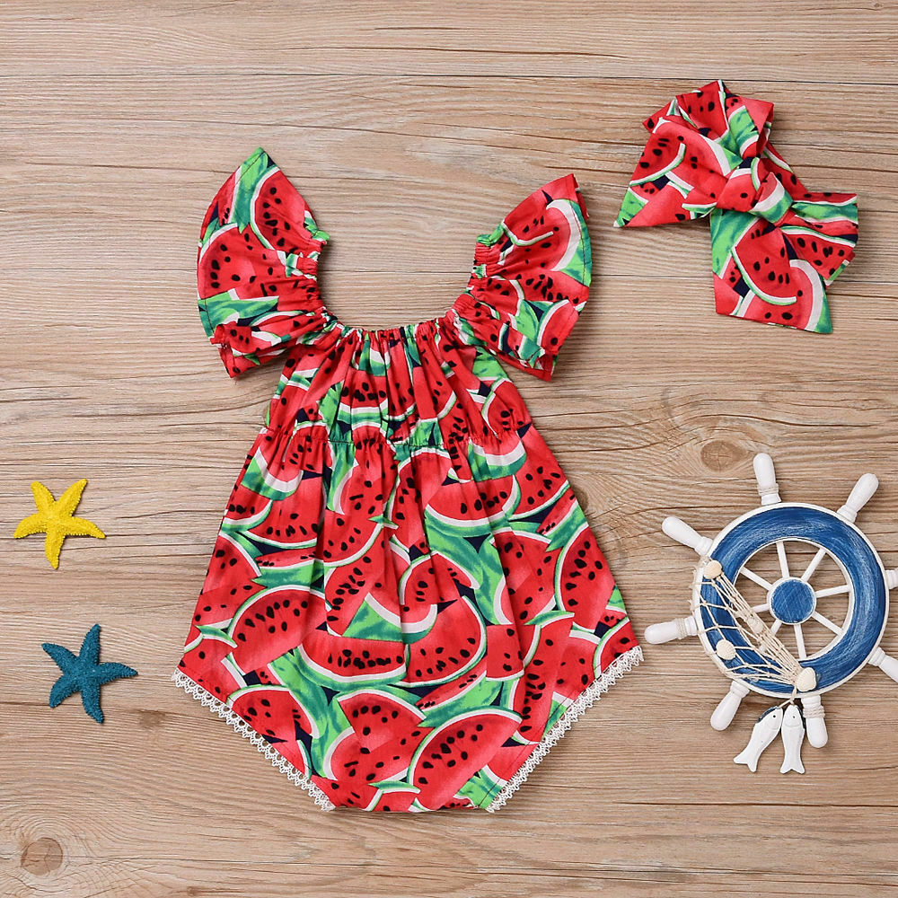 Cute Newborn Baby Girls Watermelon   Romper   +Headband Clothes Summer   Rompers