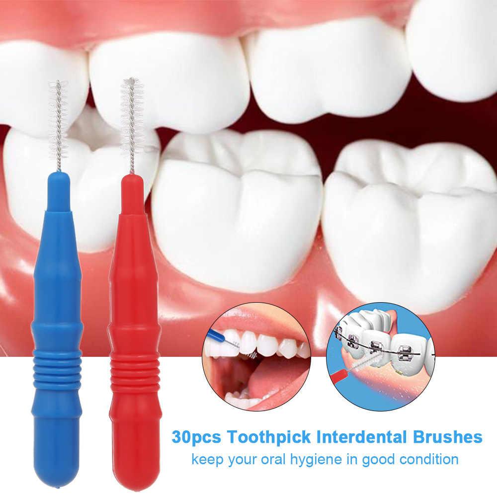 30 sztuk wykałaczki szczoteczki interdentalne, zębów Flossing głowy jamy ustnej higiena jamy ustnej