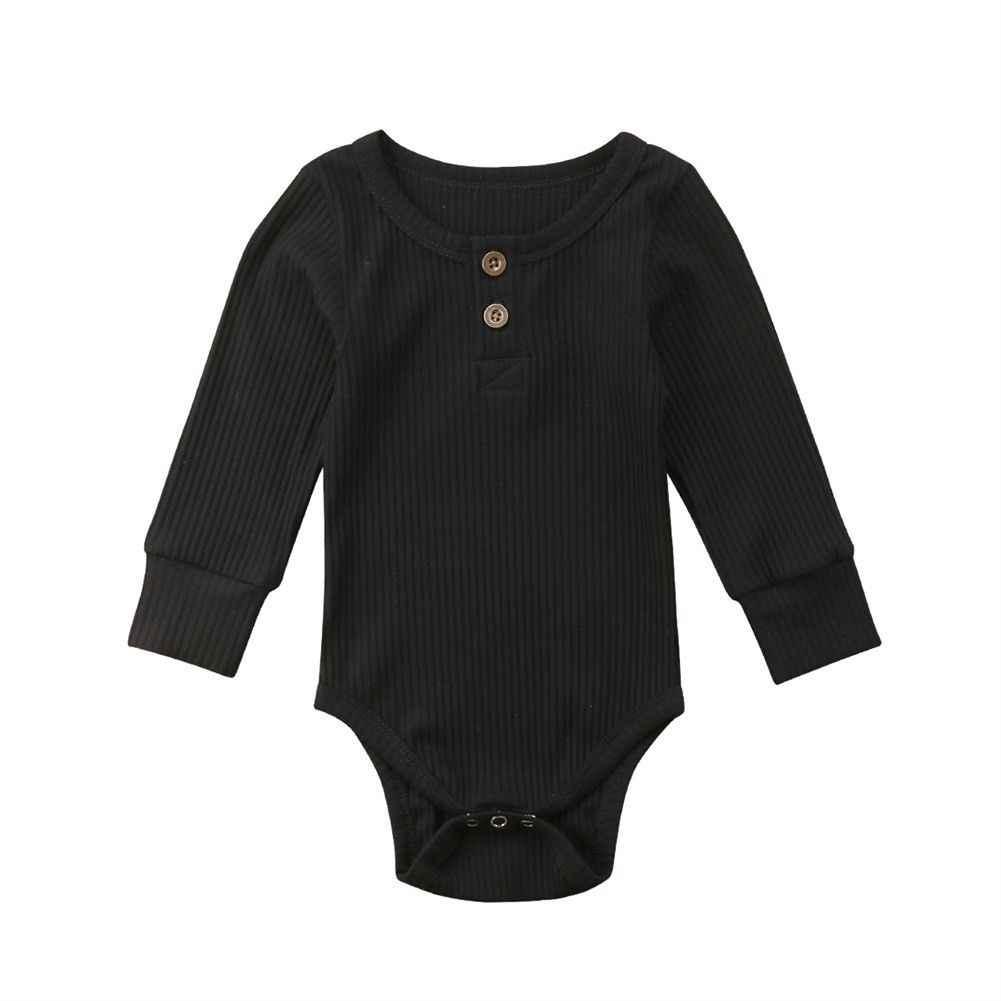 MÙA THU ĐÔNG Sơ Sinh Bé Gái Bé Trai Dài Bodysuits Tay Cotton Solid Nút Dệt Kim Hố Sọc Jumpsuit Playsuit Trang Phục