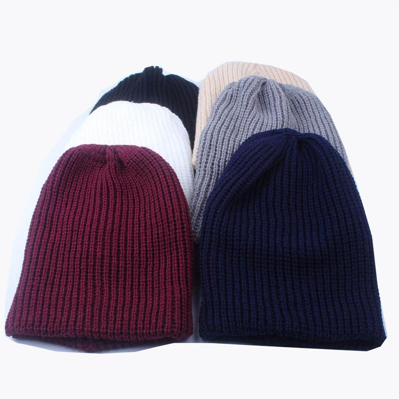 1Pc Fashion Solid Hip-Hop Beanie Hat For Men And Women Warm Knitted Wool Cap Autumn And Winter Casual Beanies Unisex Cap