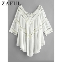ZAFUL Crochet Panel Beach Bikini Cover Up Cover Ups Swimwear Women Tunics Robe De Plage White Cover Up Bathing Suit Beach Dress