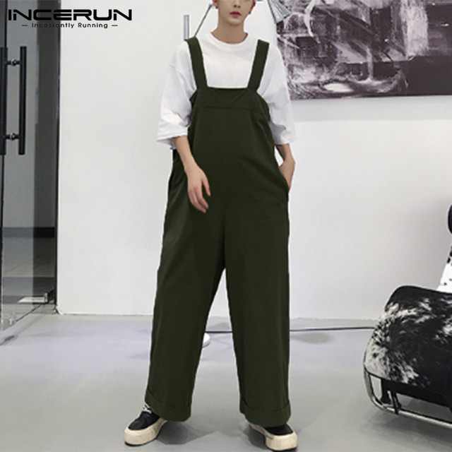 2019 Erkekler Romper Sapanlar Katı Renk Geniş Bacak Tulumlar Gevşek Streetwear Rahat Pantolon Kore Stil Erkekler Jartiyer Tulum INCERUN