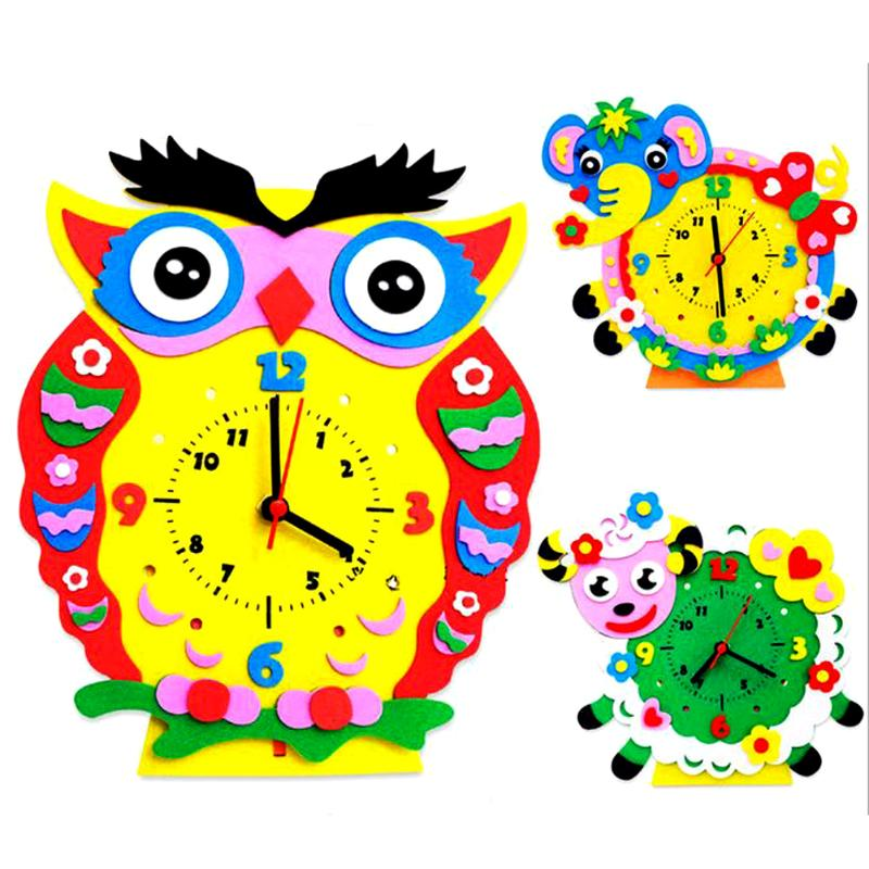 1Set Kids ToyEducational Handmade Clock Toy DIY 3D Animal Learning Clock Kids Crafts Handwork Creative Ability Training