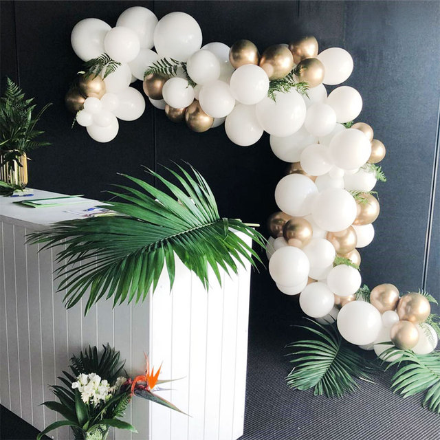 134 Pcs Gold And White Balloon Arch Chain Wedding Balloons
