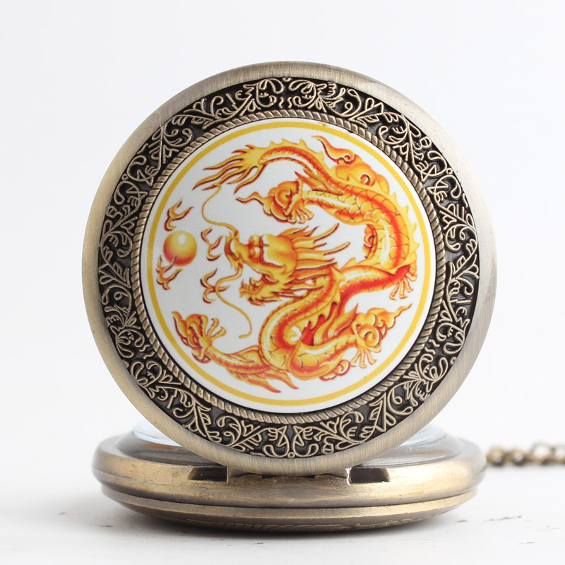 Pocket & Fob Watches  Gold Dragon  Quartz Pocket Watch Pendant Chain Necklace for Women/Men Watch Gift