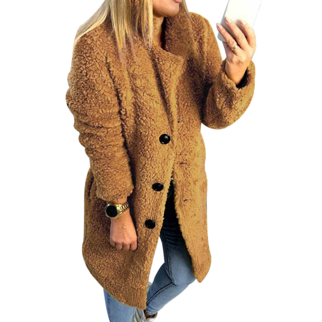 bdd40037429 Women Faux Fur Coat Winter Hairy Fleece Warm Long Coats Outwear Fashion  Lapel Fluffy Jackets Female