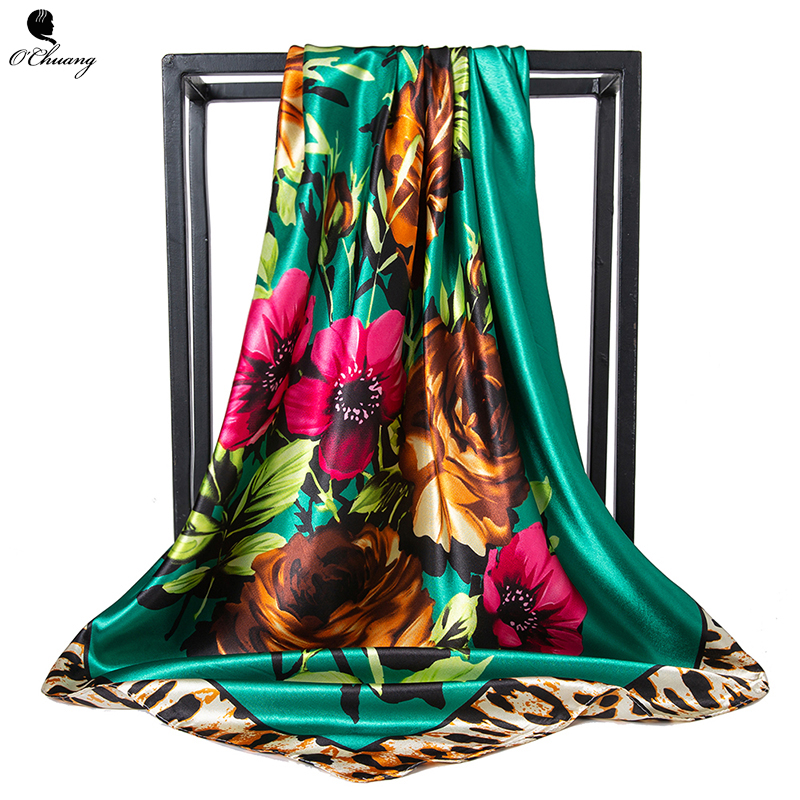 O CHUANG Women Silk Scarf Winter Print Foulard Square Shawl 90*90cm Luxury Brand Head Scarves Satin Scarfs Bandana Hijab