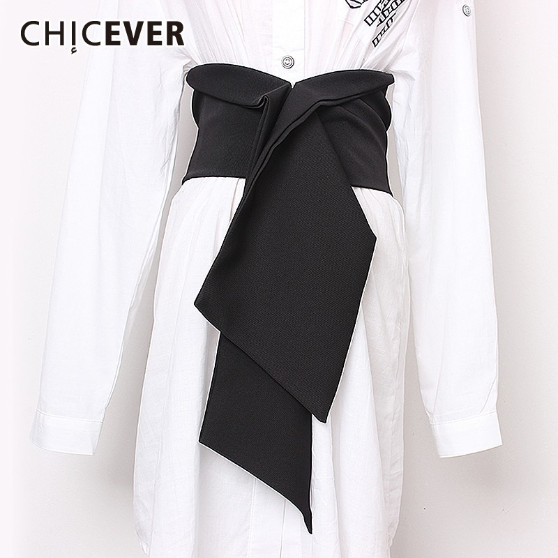 CHICEVER Summer Casual Solid Patchwork Dark Buckle Elastic Waist Wide Belt For Women Draped Belts 2019 Fashion Tide