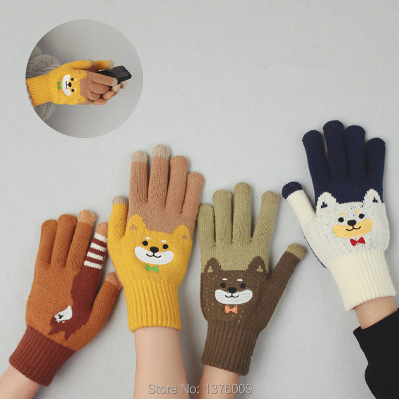 Novelty Winter Gloves For Women Girls Kawaii Doge Shiba Inu Cartoon Knit Glove Mittens Use Smartphone Screen Harajuku Gift