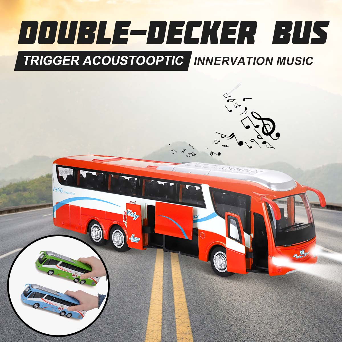 High Simulation Bus Vehicle Model LED Light Scale Flashing Sound Toy Zinc Alloy Double-decker Bus Model Toy For Collection Gift