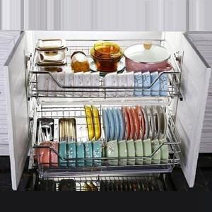 Image 2 - And Storage Organizador Armario Cocina Stainless Steel Cuisine Organizer Cozinha Kitchen Cabinet Cestas Para Organizar Basket
