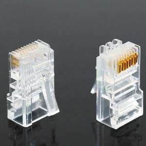 Image 2 - 20/50/100 шт. Cat6 Cat6e RJ45 Ethernet кабели, модуль, штекер, сетевой соединитель, с кристаллами, с золотым покрытием, сетевой кабель OULLX