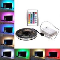 RGB Светодиодные ленты Водонепроницаемый 5050 DC 5 V USB светодиодный свет гибкие полосы светильник 5050 0,5 м 1 м 2 м Добавить пульт дистанционного упр...