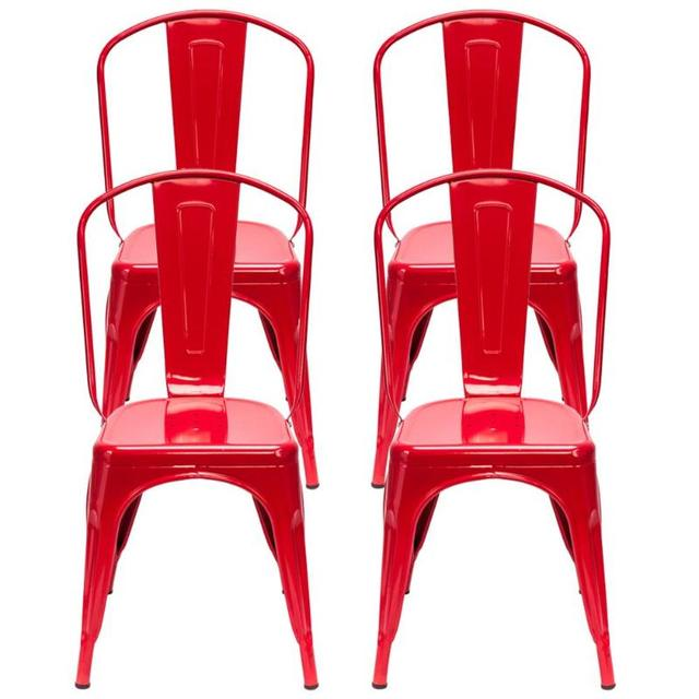 4PCS  Red Iron Backrest Chairs  5