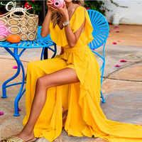 Celmia talla grande estilo bohemio vestido de verano de Mujer Sexy cuello en V sin mangas vestido de corte alto con cinturón Vestidos largos Mujer 2019