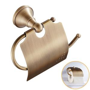 Image 2 - Porte serviettes Portable en laiton, Bronze Simple, Antique, étagère de rangement pour la salle de bain, rouleau de papier, porte papier hygiénique