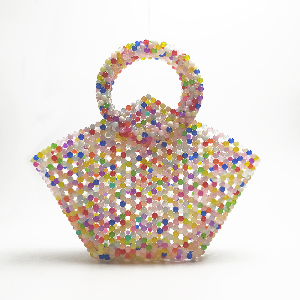 Jelly Wrapper Candy Color Design Hand-made Beads Women Bag Wrapper Woven Jelly Beaded Lady BagJelly Wrapper Candy Color Design Hand-made Beads Women Bag Wrapper Woven Jelly Beaded Lady Bag