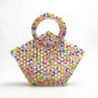 Jelly Wrapper Candy Color Design Hand made Beads Women Bag Wrapper Woven Jelly Beaded Lady Bag
