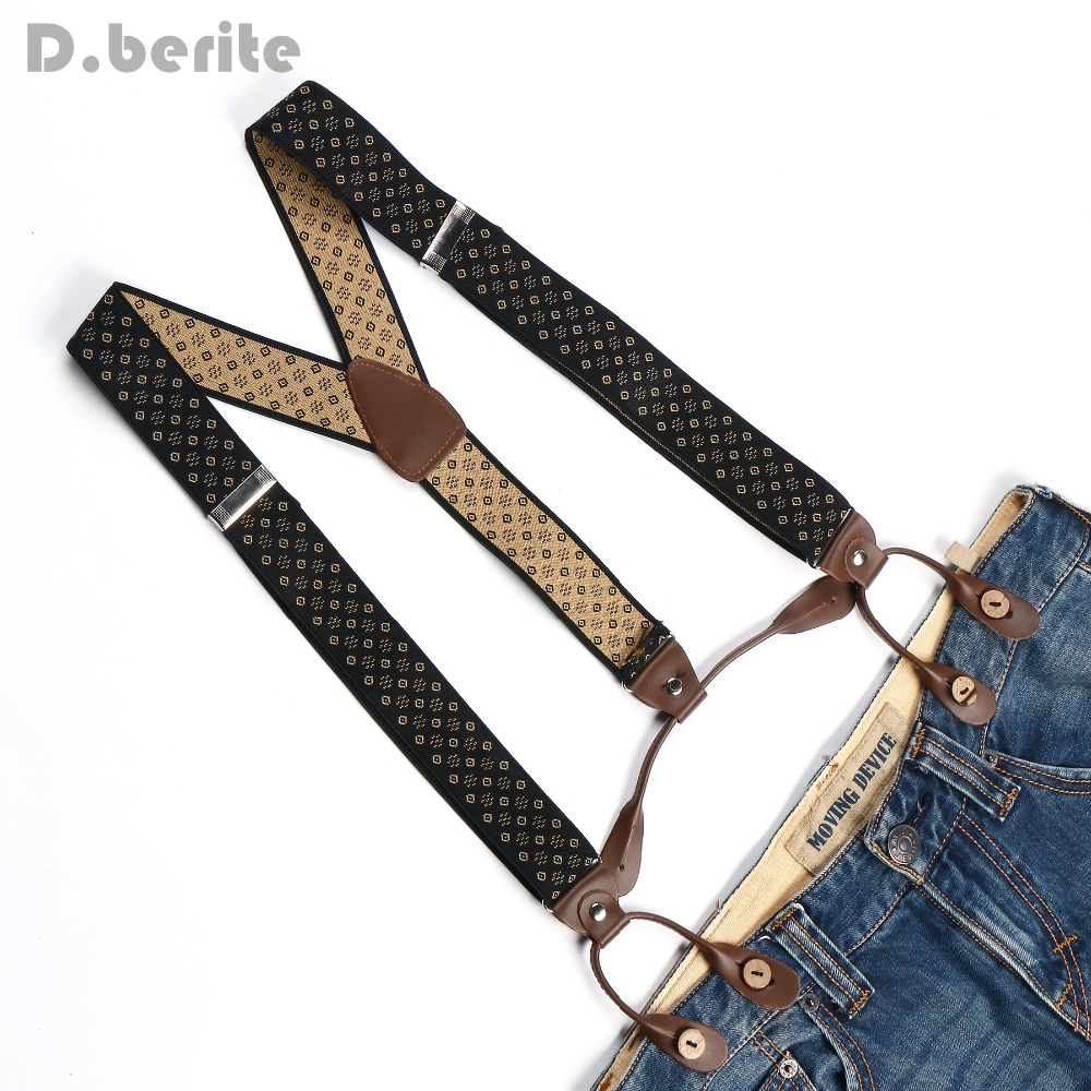 Men's Adjustable Buttons Adult Belt Elastic Suspenders Unisex Floral Braces 3.5cm Width BD765
