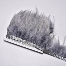 1Meter saddles rooster feather trims sewing  8-10cm gray fringe white for costumes DIY ribbon