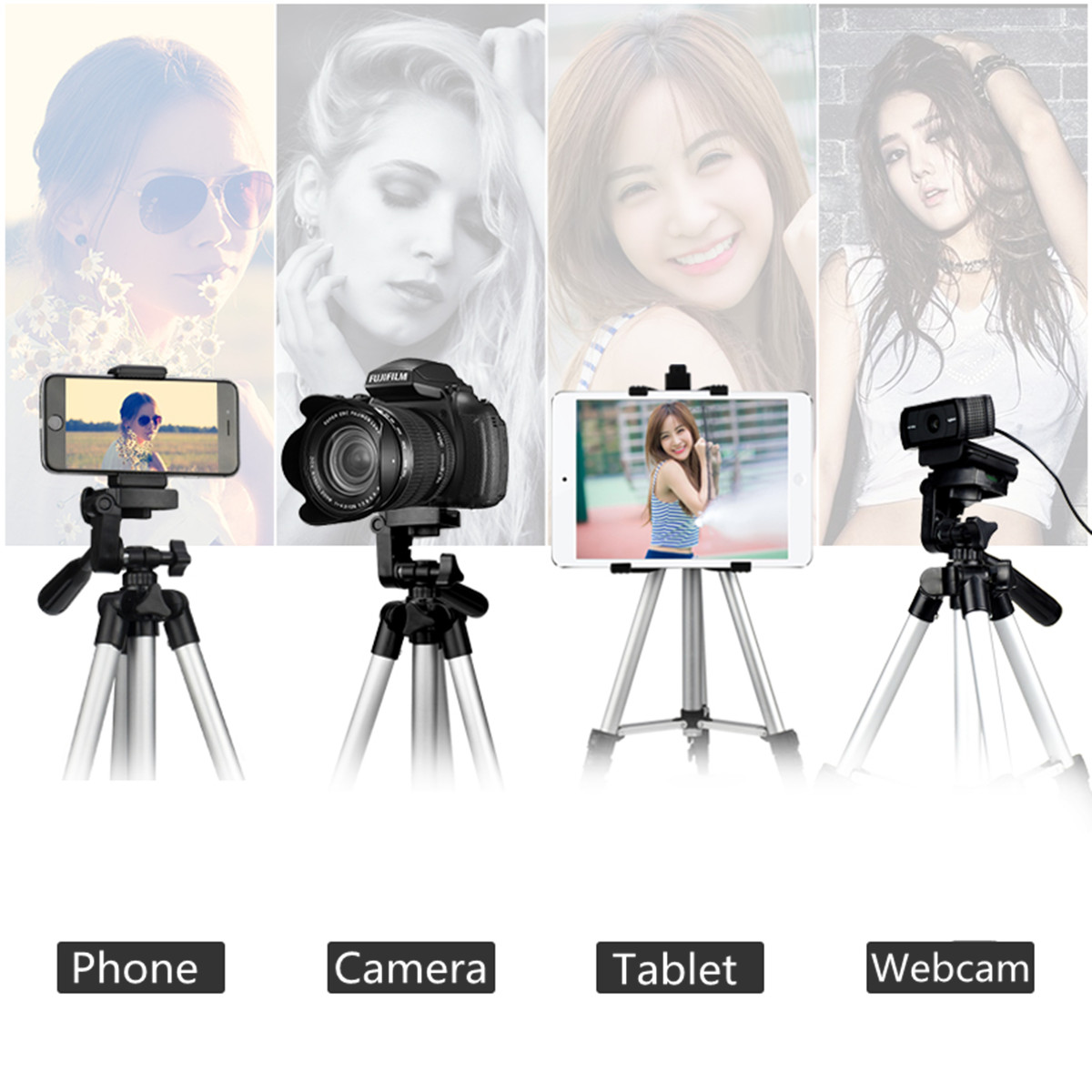 Extendable 36-100cm Universal Adjustable Tripod Stand Mount Holder Clip Camera Phone Holder Bracket For Cell Phone Camera 2