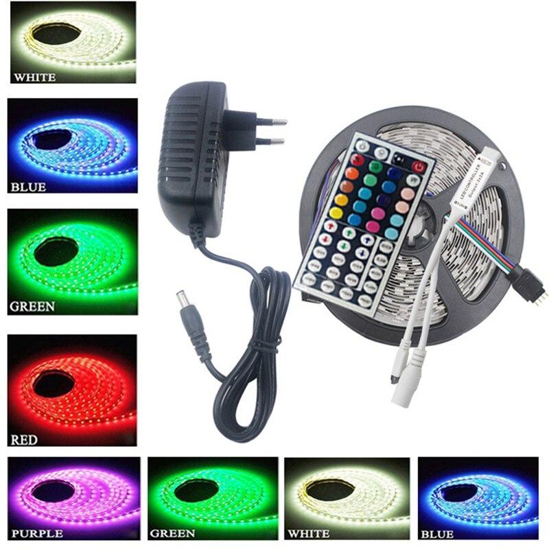 Bande de LED 12V set 5 mètres DC12V IP20/IP65 étanche SMD5050 30 LED/M RGB avec adaptateur 24/44key IR Remoter-contrôleur 2a