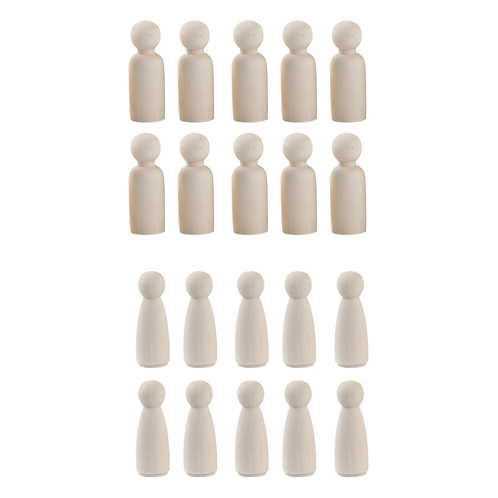 20 Pieces 2 Sizes Women Men Unfinished Wooden Peg Dolls Wooden Tiny Doll Bodies People Decorations Blank Figurine in Figurines Miniatures from Home Garden