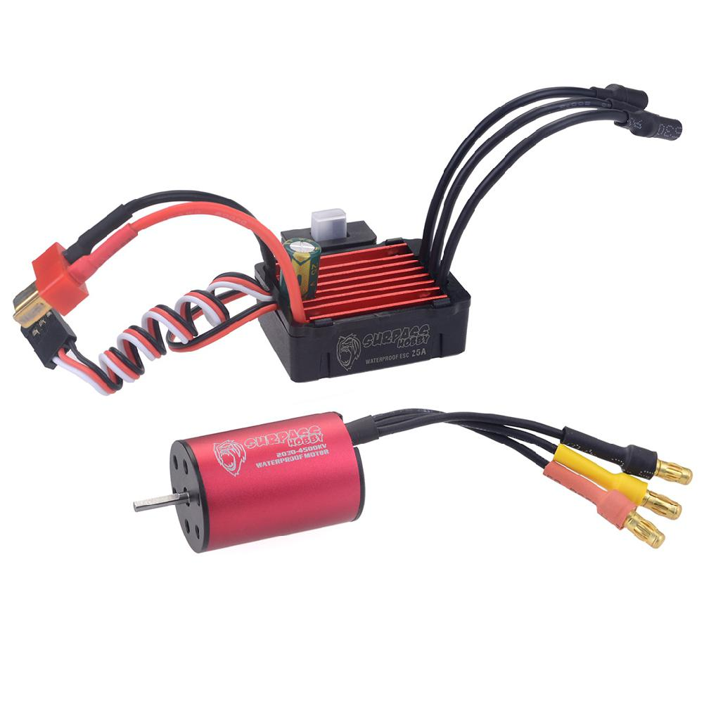 RCtown Surpass Hobby Brushless Speed Controller <font><b>25A</b></font> <font><b>ESC</b></font>+2030 4500kv Motor Waterproof for 1/20 RC Car image