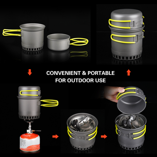 Portable Camping Cookware Set with Folding Handles